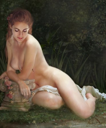 девушка у ручья