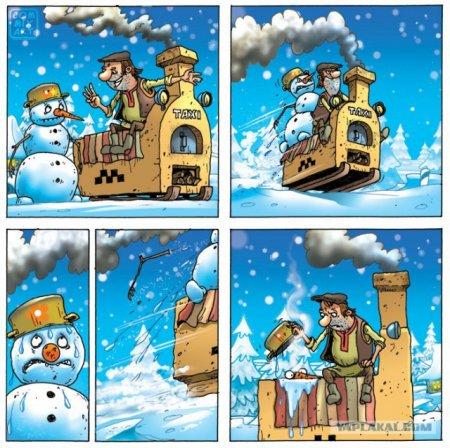 печка и снеговик