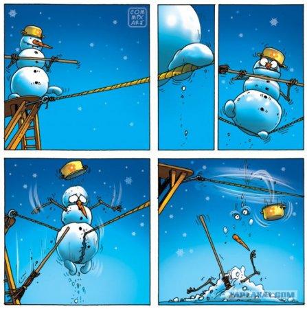 снеговик на веревке