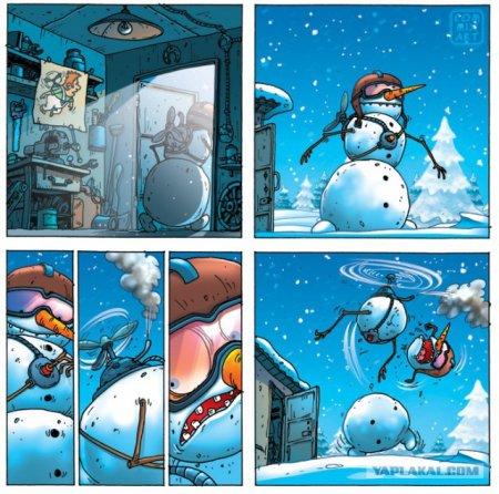 снеговик с пропеллером