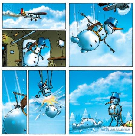 снеговик с парашютом
