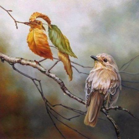 птица из листьев