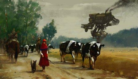 коровы и робот