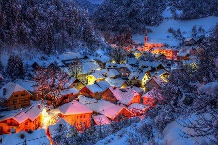 поселок в снегу