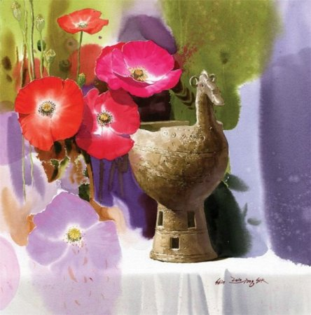 маки и ваза