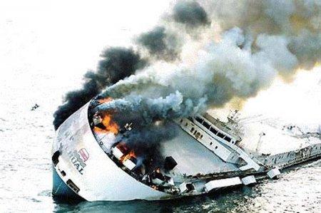 горящий корабль