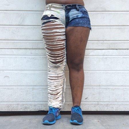 сшиваем двое джинс