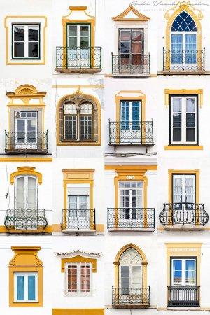 старинные окна в желтых тонах