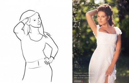 Эта поза — отличный способ продемонстрировать идеальное телосложение. Хорошо работает для изображения силуэта при съемке на ярком фоне.