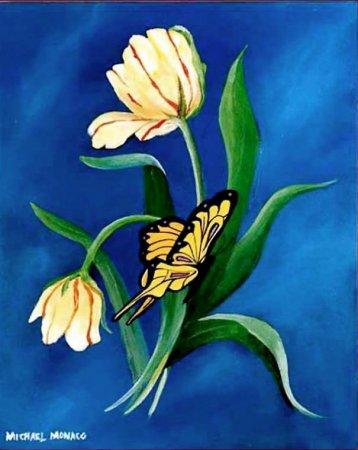 тюльпаны и бабочка