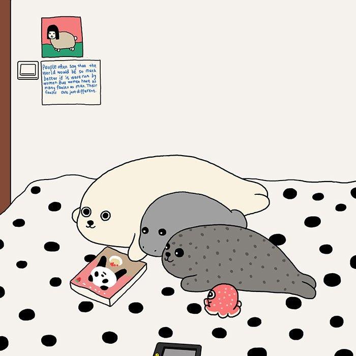 композиторы милые рисунки тюлень фоне такой
