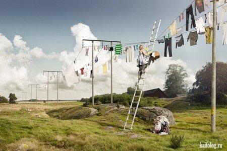 развесить белье