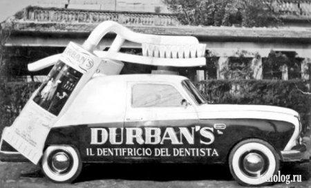 Креативная реклама на автомобилях. Италия 50-е, 60-е годы.