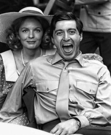 Дайан Китон и Аль Пачино на съемках фильма «Крестный отец», 1972.