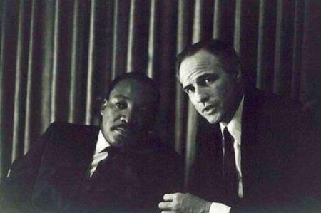 Мартин Лютер Кинг и Марлон Брандо