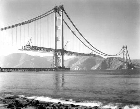 Строительство моста Золотые Ворота, Сан-Франциско, 1937