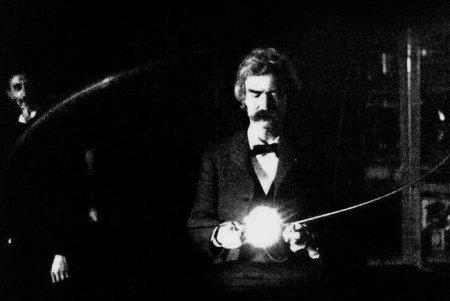 Марк Твен в лаборатории Николы Теслы, 1894